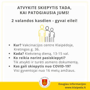 vakcinacija be registracijos 13-15 val.